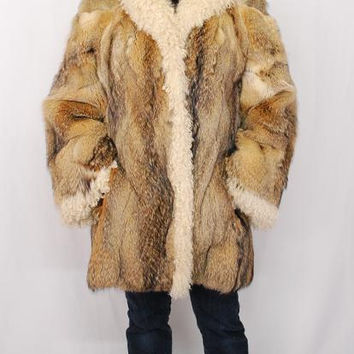 Fox Fur And Mongolian Tibetan Lamb Trim Jacket Coat Ex Condition Size Small (German Furrier)