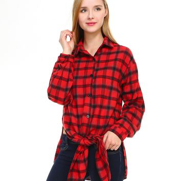 Plaid long sleeve button down shirt classic fit with front tie and side slits