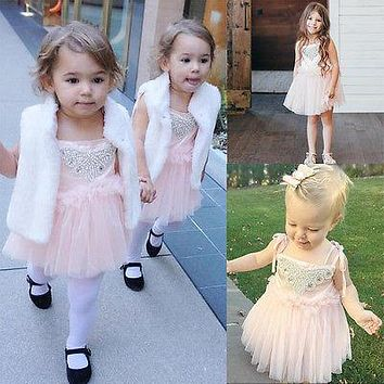 2016 New Baby Girls Brief Sequins Flower Lace Tulle Party Bridesmaid Ball Gown Dresses Sleeve Cute Sundress 2 3 4 5 6 Years