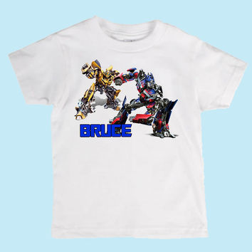 Personalized Optimus Prime and Bumblebee from Transformers Boys Shirt/Onesuit Birthday shirt