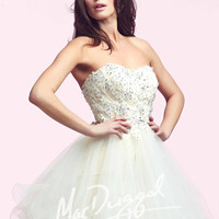 Mac Duggal 64957 - Ivory Strapless Beaded Lace Homecoming Dresses Online