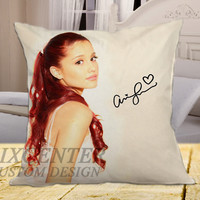 "Ariana Grande Signature 2 on square pillow cover 16"" 18"" 20"""