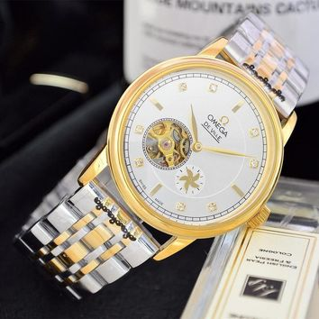 HCXX O046 Omega 25 Jewels Swiss Made Fashion Simple Steel Strap Watches Gold White
