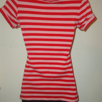 Womens Pink and Red Striped Rockabilly Sailor Girl Pin Up Top