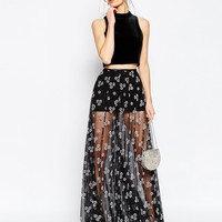 ASOS Sheer Maxi Skirt with Flocked Flowers