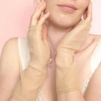 Bridal nude fingerless gloves silk and lurex