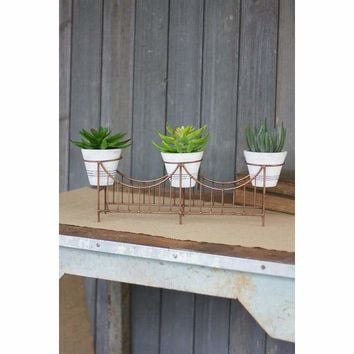 Copper Finish Wire Bridge With 3 White Washed Flower Pots