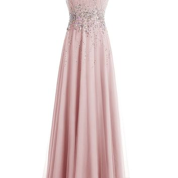 US Women's Long Tulle Sweetheart Prom Dress Beaded Bridesmaid Evening Dress