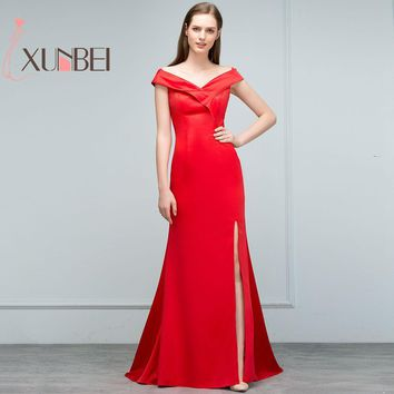 Sexy Cap Sleeves Simple V Neck Red Bridesmaid Dresses Long 2017 Side Slit Prom Dresses Party Gown