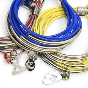 Leather Wrap Bracelet With Silver Tube Beads And Clasp-16 Colors-Add Charms!