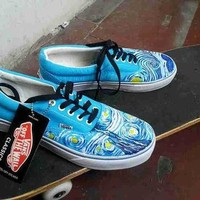 Vincent Van Gogh vans shoes Starry Night hand painted vans shoes Custom Vincent Van Go