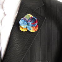 Rainbow orchid flower brooch, crocheted shawl pin, lapel pin