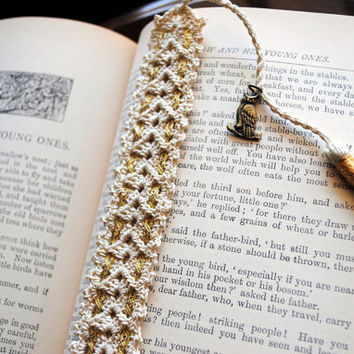 Crochet lace bookmark with a tassel and ribbon, Egyptian cotton, ecru, owl charm