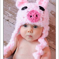 Baby Crochet Girl Pig Hat Photography Prop Halloween Costume Pink Piggy - Treasured Little Creations