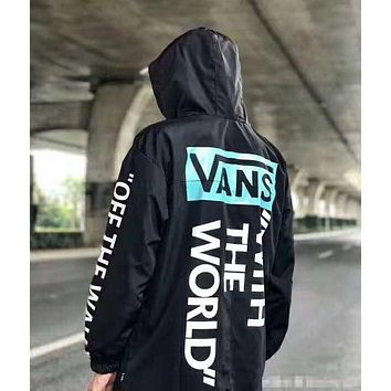 """VANS"" Hooded Zipper Cardigan Sweatshirt Jacket Coat Windbreaker Sportswear(Two Side Wear Reversible)"