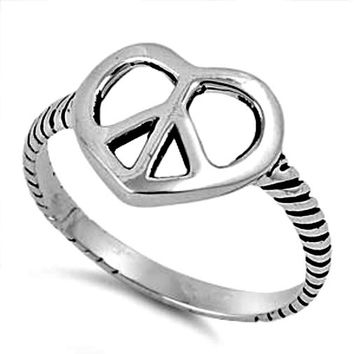 .925 Sterling Silver Peace Sign Heart ring Ladies size 5-11
