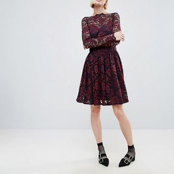 Ganni Larkin Lace Dropped Hem Dress at asos.com