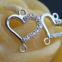 925 Sterling Silver Lovely Heart with 10 tiny Cubic Zirconia Link, Connector, Pendant, Chandelier, Bridal Design, Earrings Pendant Connector