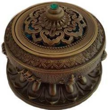 Lotus brass incense burner