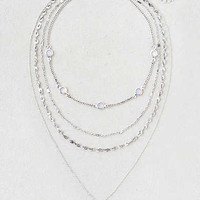 AEO Teardrop Charm Layered Necklace, Silver