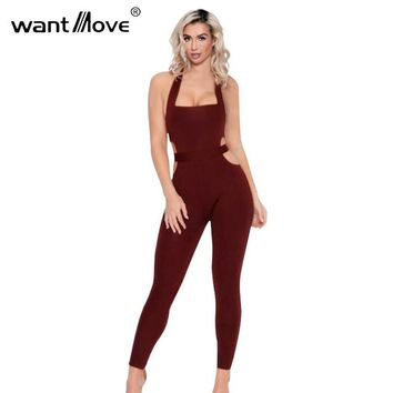 Wantmove 2017 summer style waist band cut out sexy club party jumpsuit skinny jumpsuits and rompers for women XD791