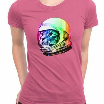 Astronaut Space Cat Women T Shirts