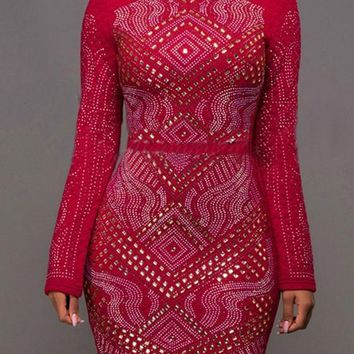 Streetstyle  Casual Red Floral Appliques With Rhinestones Long Sleeve Slim Clubwear Mini Dress
