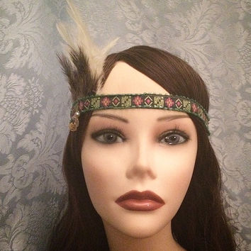 1920's inspired native american flapper green blue yellow pink headband pearl coin accents feather adjustable 1920 head piece headpiece 20s