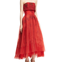 Zac Posen Strapless Floral Popover Midi Gown, Red Medley