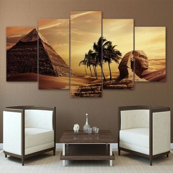 Canvas Paintings Poster Modular Decor Room Wall 5 Pieces Pyramids Egypt Androsphinx Sunset Scenery Pictures Art Framed HD Prints