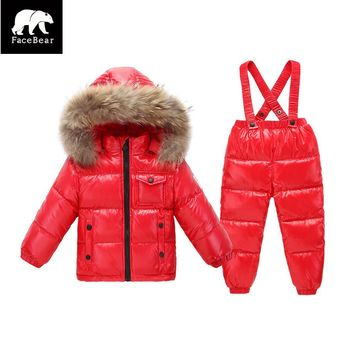 2017 Russia winter Christmas costumes for girls boys coats 90% down jackets children's clothing for snow wear kids dresses