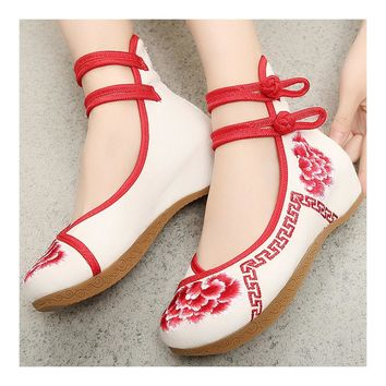 Fashion Online Old Beijing Cloth Embroidered Shoes Slipsole Red