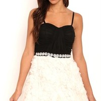 Short Homecoming Dress with Stone Pearl Trim Waist and Contrast Skirt