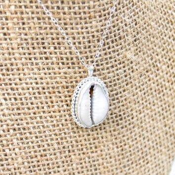 Silver Beaded Cowrie Necklace