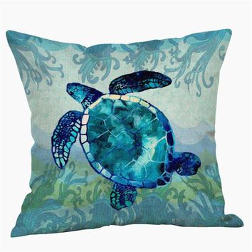 "Cute Cartoon Turtle Style Throw Pillow Cover Printed 18x18''/20x20"" Cotton&Linen Decorative Cushion Cover Home Sofa Pillowcase"