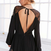 Kimchi Blue Lyle Gothic Lace Tie-Back Romper - Urban Outfitters