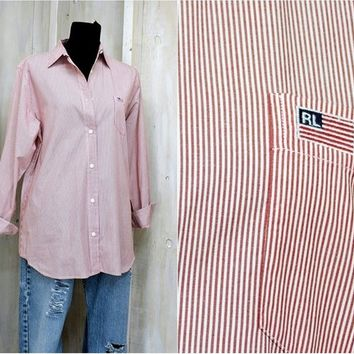 Women's Polo Ralph Lauren oxford shirt size 10 / 12 / vintage 80s  Ralph Lauren / cotton button down shirt / long sleeve red white