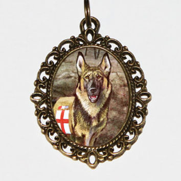 Rescue Dog Necklace, German Shepherd, Soldier Dog, World War 1, WWI, Military Dog, Animal Jewelry, Bronze Oval Pendant