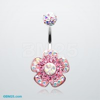 Lovely Blossom Tiffany Inspired Dangle Belly Button Ring