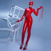 Red Faux Leather Jumpsuit Cat Woman Costume