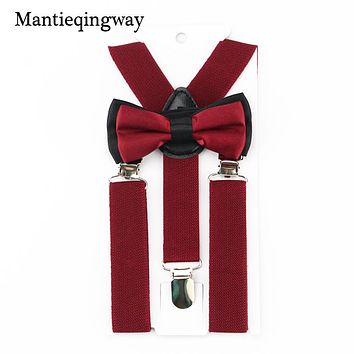 Mantieqingway Candy Color Baby Suspenders Set Bow Tie for Wedding Boys Girls kids Suspender Adjustable Elastic Y-Back Braces