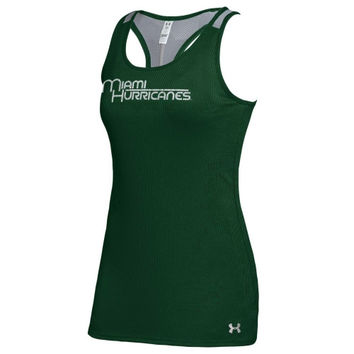 Miami Hurricanes Under Armour Women's Vicotry Performance Tank Top – Forest Green