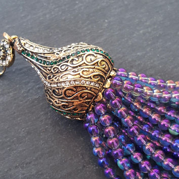 Purple Rainbow Crystal Quartz Beaded Tassel Iridescent Aurora Borealis Antique Bronze Rhinestone Accents - Swirl Cap