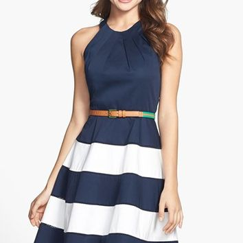 Petite Women's Eliza J Stripe Skirt Cotton Sateen Fit & Flare Dress