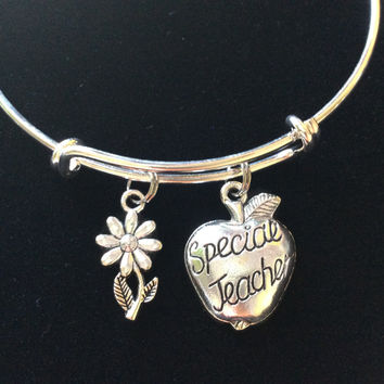 Special Teacher and Daisy Charm Bracelet Silver Wire Bangle Adjustable and Expandable One Size Fits All School Gift