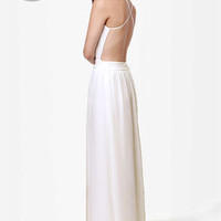 LULUS Exclusive Rooftop Garden Backless Ivory Maxi Dress