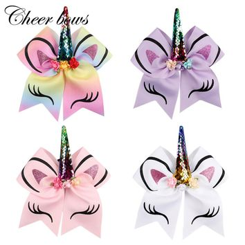 "8pcs/lot 8""Rainbow Unicorn Sequin Cheer Bow With Elastic Band Glitter Printed Hair Bow with Flowers Children Hair Accessories"