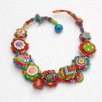 Rustic textile necklace in bright colors, mixed media statement jewelry, colorful OOAK fiber art