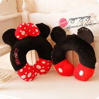 Disney Mickey Minnie Mouse Couple Cartoon U-shaped Health Neck Pillow Student Adult Office Napping Pillow  gift