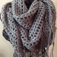 Heather Grey Fringed Mesh Triangle Crochet Scarf